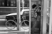 Toronto, 1983, streetcar, taxi, bicycle, telephone,